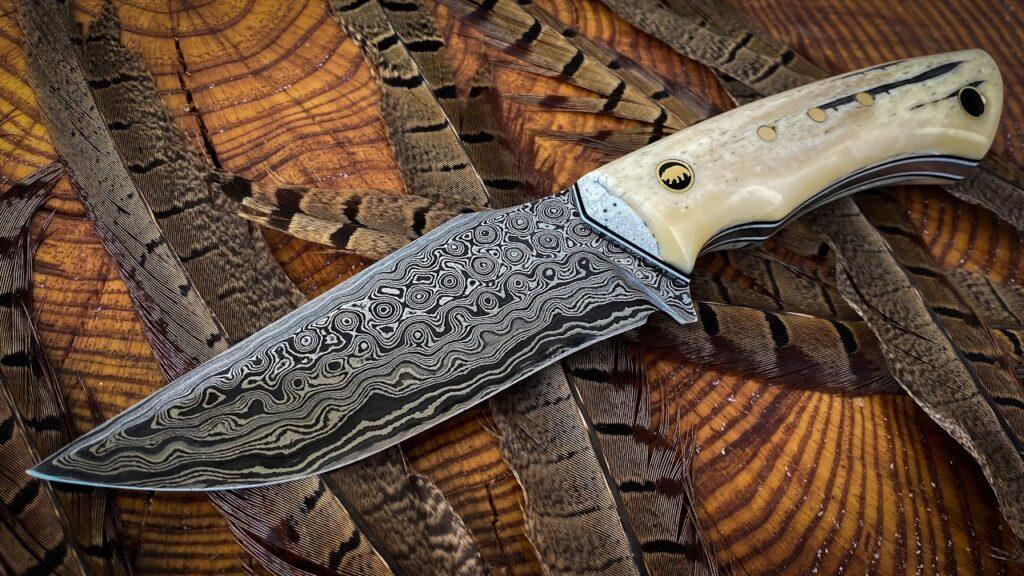 Making Damascus Hunting Knife